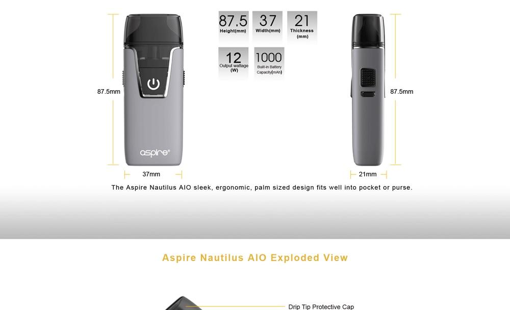 In stock!! Aspire Nautilus AIO kit newest aspire pod system kit with 1000mAh battery 4.5ml capacity pod vape kit vs breeze 2 kit 3