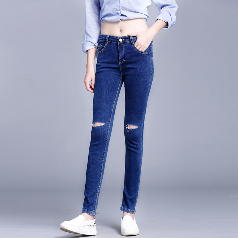 Ripped Jeans For Women Knee Hole Jeans Female Skinny Pencil Pants Trousers Women skinny jeans for gilrОдежда и ак�е��уары<br><br><br>Aliexpress