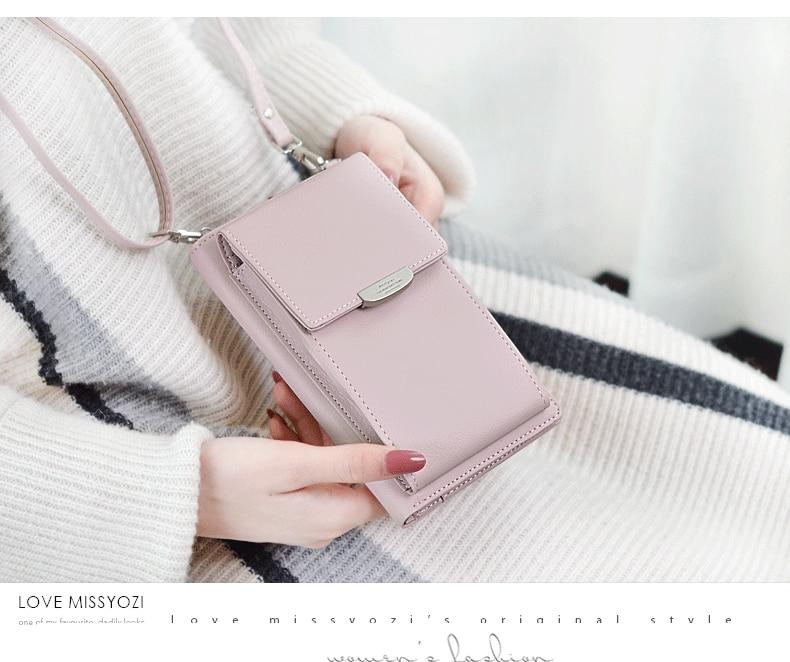 19 New Women Casual Wallet Brand Cell Phone Wallet Big Card Holders Wallet Handbag Purse Clutch Messenger Shoulder Straps Bag 18