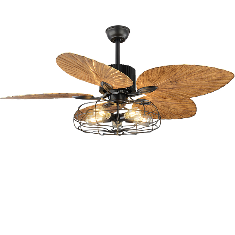 Lights & Lighting Lukloy Restaurant Ceiling Fan Pendant Light Living Room American Retro Industrial Remote Control Antique Wood Leaf Fan Lamp Without Return Ceiling Lights & Fans