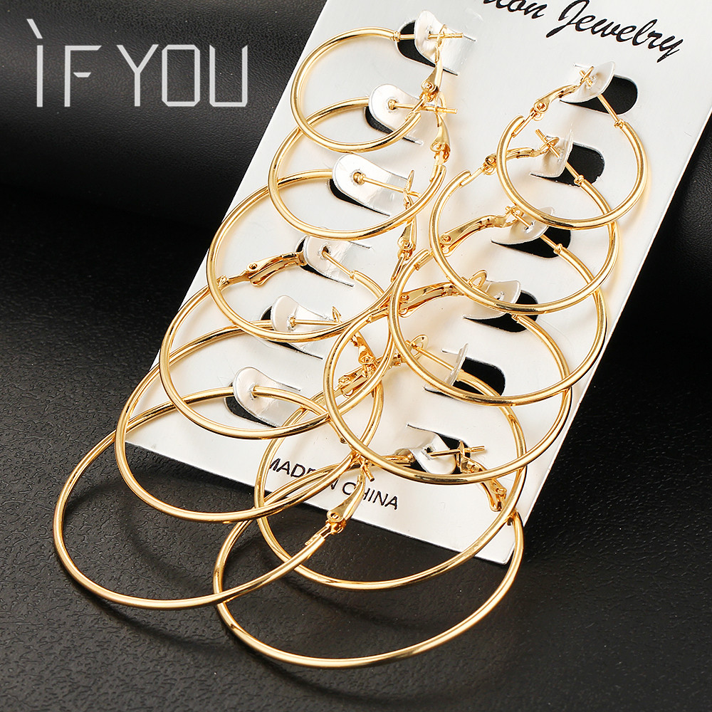 IF YOU 6 Pairs/Set Fashion Trendy Round Gold Color Rock Punk Stud Earrings Set Woman Party Ladies Earrings Ear Jewelry Gift