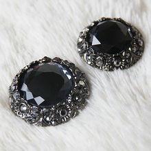 25/30/36mm 1pcs/lot Black High-grade Crystal Buttons Cashmere Mink Coat Fur Clothing Buckle Diamond Decoration Clasp Buckle Diy(China)