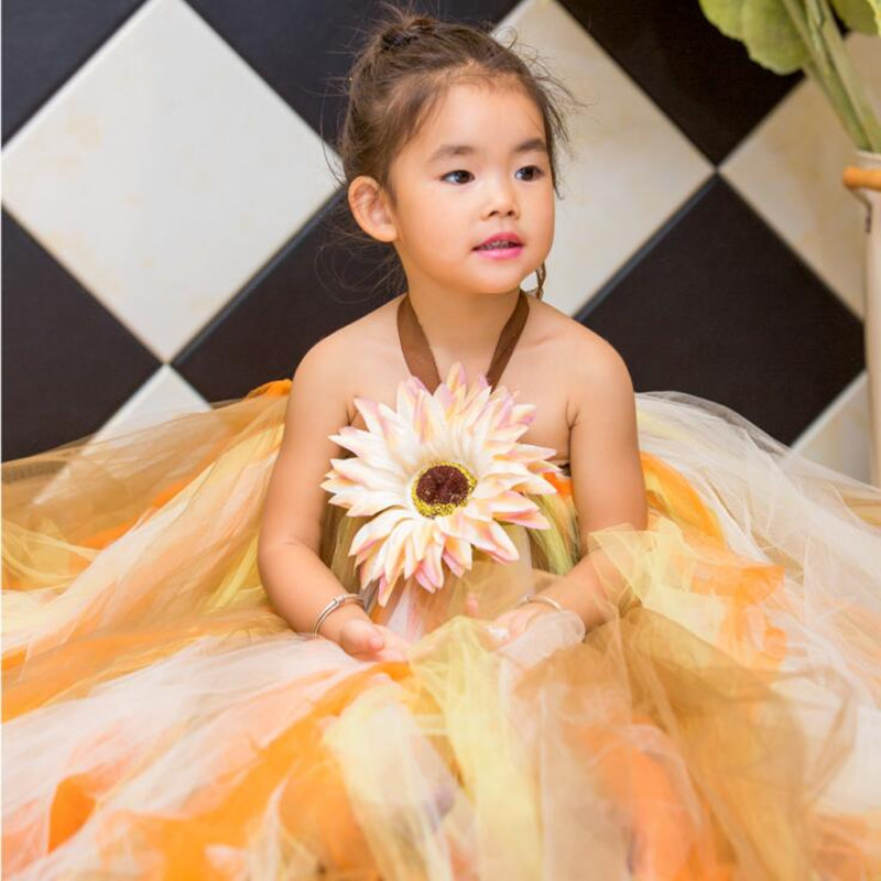 2016 Girls Dresses Fashion Sunflower Girls Tutu Dresses Luxury Baby Tulle Dress For Party Clothing for Girls<br>