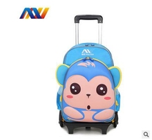 little Kids Backpack Bag For School 3D EVA Cartoon Children School Backpack with wheels Animal Travel Luggage Trolley backpack