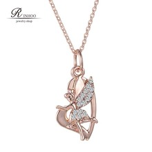 Rose new Fairy Necklace For Women Jewelry Fashion crystal Rhinestone fairy Pendant Necklace