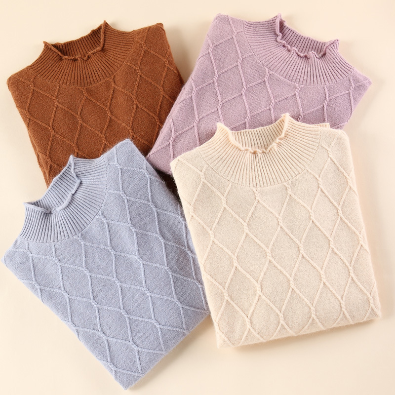 GABERLY Soft Cashmere Turtleneck Sweaters and Pullovers Women Autumn Winter Wood Ear Neck Female Jumper Knitted Brand Pullover