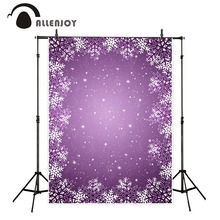 Allenjoy christmas vinyl backdrops for photography Snowflake purple sky  for photo studio for a photo shoot photocall