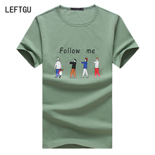 Summer Short T Shirt Men Fashion Brand Men Clothes Cotton Mens T-Shirt letter follow me Casual T Shirts asian size M~3XL 4XL 5XL