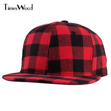 [TIMESWOOD]2016 2017 Straight Brim Hip Hop Snapback Caps Men Women Summer Winter Snapback Baseball Hat Red And Black Plaid Bones(China)