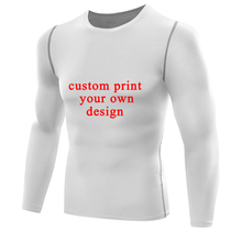 Customized Men T shirt Print Your Own Design men Compression Shirt long sleeves male Rashguards T-shirt Tops Personalized jersey(China)