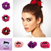 Women's Fashion Luxury Floral Flower Bun Hairband Garland Bridal Scrunchie Band