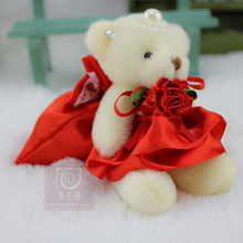 12pcs/lot Mini 12CM Teddy Bears Cookie Candy Bags For Wedding Birthday, Stuffed Plush Toy Teddy Bear Doll Candy Cookie Container