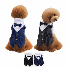 FH29 Striped Pet Dogs Groom Tuxedo Bow tie Wedding Suit Puppy Dog Gentleman Formal Party Costume Apparel Chihuahua Outfit(China)