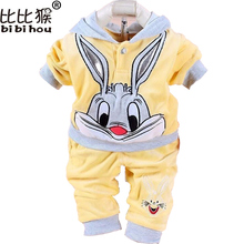 Infant Children Clothing Baby Girls Winter Autumn Clothing Set Cartoon Rabbit Hello Kitty Hoody Pants Kids Clothes Girls Outfits(China)