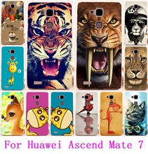 Soft TPU & Hard PC Phone Cases For Huawei Mate 7 Housing Cute Animal  Print Tiger Lion Owl Cover For Huawei Ascend Mate 7 Shell