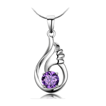 JEXXI Trendy Elegant Style Angle Wing Design 925 Sterling Silver With Purple Crystal Pendant Necklace Women Jewelry