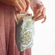 Chinoiserie Brocade Water Blue Crossbody Bag Handmade Clothing Coin Purse Crossbody Bag Han Chinese Clothing Cell Phone Bag(China)