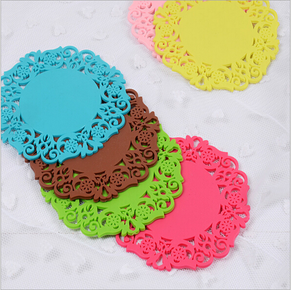 6Pcs/Lot Lace Romantic Elegant Flower Silicone Coaster Coffee Table Cup Mats Pad Placemat Kitchen Accessories 9.5cm 15g(China)