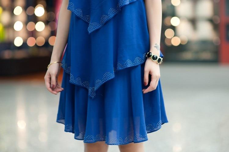 Vestido De Festa Summer Dresses 5XL Plus Size Women Clothing ropa mujer 18 Chiffon Dress Party Short Sleeve Casual Blue Black 16