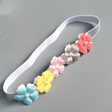 Pretty! Baby Colorful Cute Flower Pearl Headbands Princess Kids Infant Floral Hair Accessories Children Birthday Party Head Wrap(China)