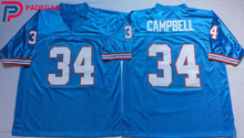 Embroidered Logo Earl Campbell 34 throwback high school FOOTBALL JERSEY white sky blue for fans gift cheap 1104-10(China)