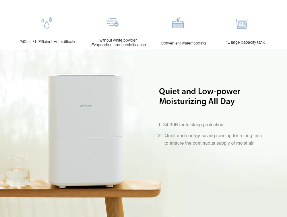 Original Xiaomi Smartmi Humidifier Protable Evaporation Air Humidifier 4L Capacity Data Smartphone Mi home APP Control