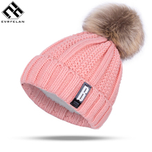 2017 New Pom Poms Winter Hat for Women Fashion Solid Warm Hats Knitted Beanies Cap Brand Thick Female Cap Wholesale