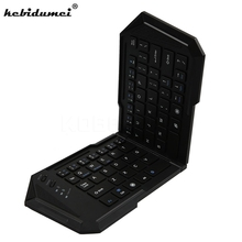 Intelligent Mini Folding Bluetooth Keyboard Wireless Foldable Pocket Wireless Travel Keypad Keyboards for iphone ipad tablet PC(China)