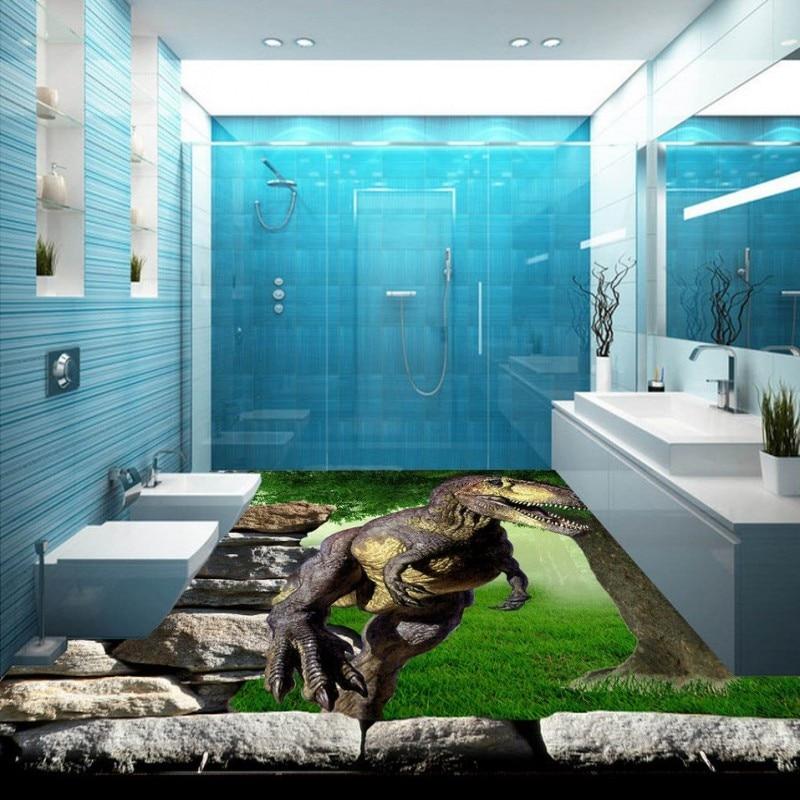 Free Shipping custom Dinosaur 3D Stereoscopic floor painting paste bathroom Kitchen wallpaper waterproof wear floor mural<br><br>Aliexpress