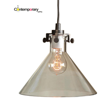 Contemporary lighting E27 American country kitchen clear funnel hand blown glass Transparent shade   MERIDIAN PENDANT LAMP