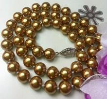 New fashion! 8mm Brown Ocean Sea Shell Pearl Necklace Rope Chain Beads Hand Made Jewelry Natural Stone