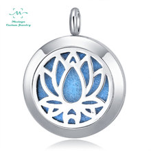 Mesinya 10pcs silver color women's Saint Yoga Lotus Essential Oils surgical 316L S.Steel Perfume Diffuser Locket Necklace(China)