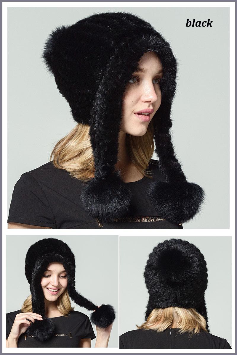 mink fur hat black