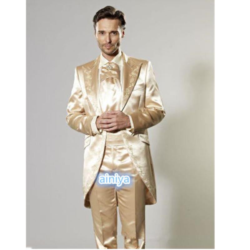 1-3 mens classic suits Custom Gold Men\'s Wedding Suits Embroidery Groom Tuxedos Formal Prom Best Men Tailcoats