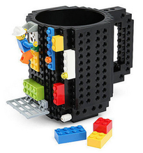 2017 Creative DIY Build-on Brick Mug Lego Style Puzzle Cup Building Blocks Water Bottle Frozen Coffee Cup Christmas toy Mug gift