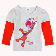 fashion 5 size salmon nova kids clothes striped with cute character girl T Shirt Tops & Tees New 2015 baby wear(China)