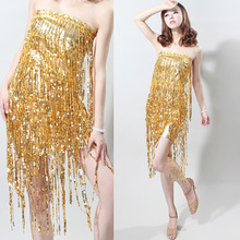 free shipping Tube top sexy racerback tassel paillette one-piece dress Latin women's wear sequin dance singer perform party