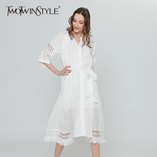 Buy TWOTWINSTYLE White Lace Summer Dress Female High Waist Bandage Crochet Flower Tassel Midi Dresses Casual Clothes Spring 2018 New for $47.25 in AliExpress store