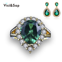Visisap Luxury Green stone Russian Hot wedding jewelry sets for women rings earrings trendy jewellery yellow gold color VSJ201(China)