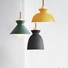 Fashion Colorful Modern Wood Pendant Lights Lamparas Minimalist design shade Luminaire Dining Room Lights Pendant Lamp(China)