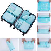 8pcs Travel Clothes Underwear Socks Storage Bags Packing Luggage Bag Packing Cube Organizer Solid Color Sets Blue