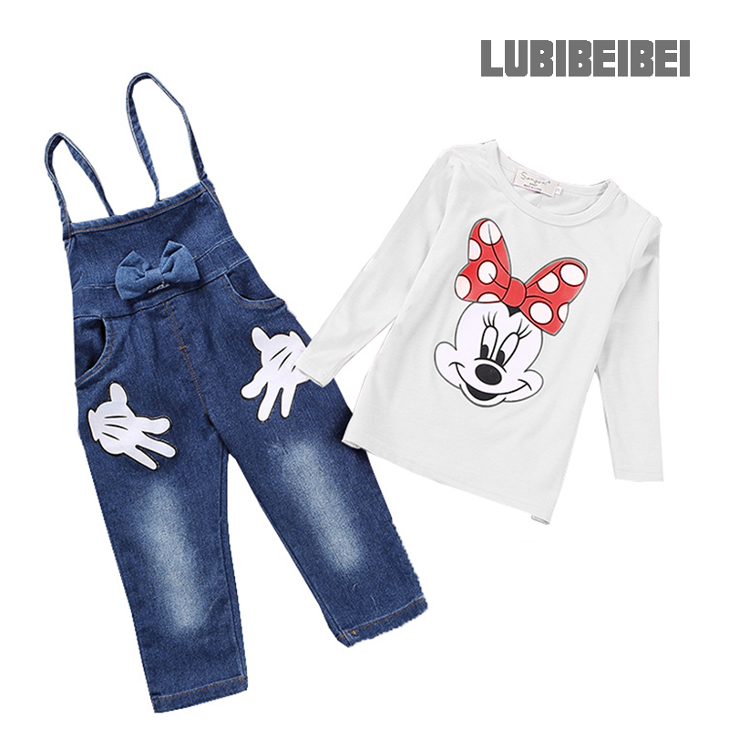 Girls Minnie T-shirt denim overalls suit 2017 new cartoon Minnie Mouse T-shirt two-piece denim overalls Age 2T-5T<br><br>Aliexpress