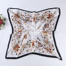 Fashion Imitated Silk Scarves Brand Flower Print Satin Square Scarf Women Good Quality Large Size Polyester Shawl Hijab(China)