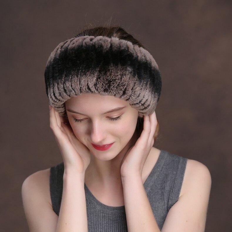 Winter Fur Headbands For Women Knitted Rex Rabbit Fur Scarf Hats Natural Fur Ring hairband Neckwarmer female (12)