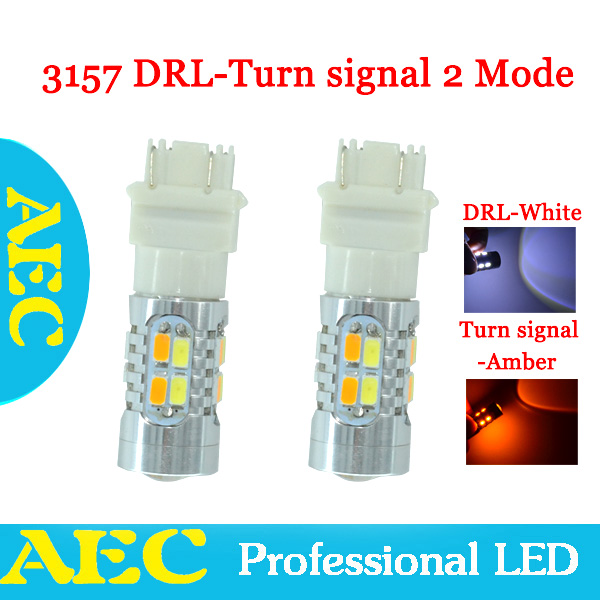 2X T25 3157 Yellow Amber White LED 20 SMD 5630 5730 Dual Color Switchback Turn Signal Light Bulbs Light 12V<br><br>Aliexpress