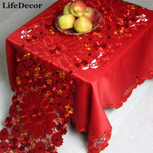 Marriage fashion satin embroidery red fabric table cloth round table cloth dining table cloth