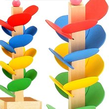 Wooden Tree Marble Ball Run Track Game Intelligence Blocks Toys Baby Montessori Educational Blocks(China)