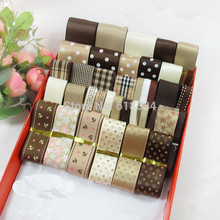 Coffee Style 36Yards/set Mixed Ribbon Set DIY HairBow Making Materials Printed Satin Ribbons Grosgrain ribbon ZD-032(China)
