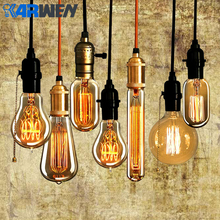KARWEN vintage Edison bulb E27 lampada retro lamp Incandescent Bulb 40w 220V Edison Light For Pendant Lamp Decoration(China)