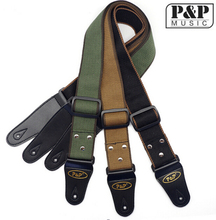 Pure Color Acoustic Guitar Strap Army Green/Yellow/Black Adjustable Cotton Guitar Belt With PU Leather Ends Guitar